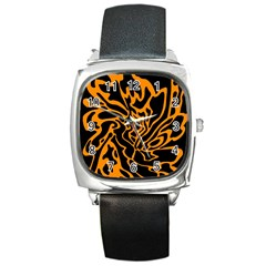 Orange And Black Square Metal Watch by Valentinaart