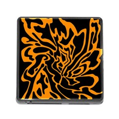 Orange And Black Memory Card Reader (square) by Valentinaart