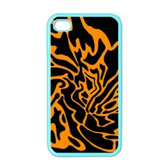 Orange And Black Apple Iphone 4 Case (color) by Valentinaart