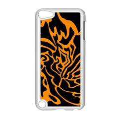 Orange And Black Apple Ipod Touch 5 Case (white) by Valentinaart