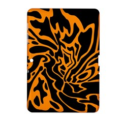 Orange And Black Samsung Galaxy Tab 2 (10 1 ) P5100 Hardshell Case  by Valentinaart