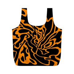 Orange And Black Full Print Recycle Bags (m)  by Valentinaart
