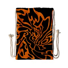 Orange And Black Drawstring Bag (small) by Valentinaart