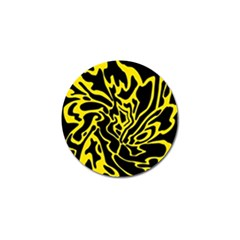 Black And Yellow Golf Ball Marker by Valentinaart