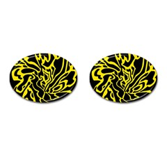Black And Yellow Cufflinks (oval) by Valentinaart