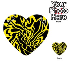Black And Yellow Playing Cards 54 (heart)  by Valentinaart