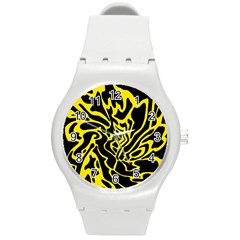 Black And Yellow Round Plastic Sport Watch (m) by Valentinaart