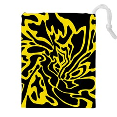 Black And Yellow Drawstring Pouches (xxl) by Valentinaart