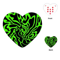 Green And Black Playing Cards (heart)  by Valentinaart