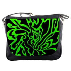 Green And Black Messenger Bags by Valentinaart