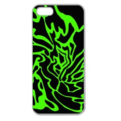 Green And Black Apple Seamless Iphone 5 Case (clear) by Valentinaart