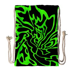 Green And Black Drawstring Bag (large) by Valentinaart