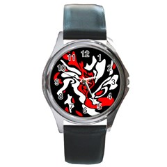 Red, Black And White Decor Round Metal Watch