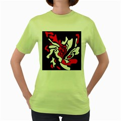 Red, Black And White Decor Women s Green T Shirt