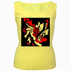 Red, Black And White Decor Women s Yellow Tank Top
