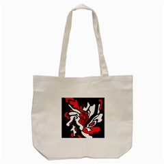 Red, Black And White Decor Tote Bag (cream) by Valentinaart