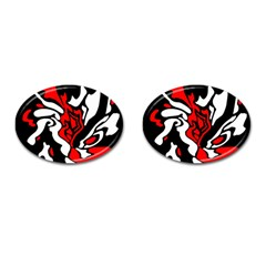 Red, Black And White Decor Cufflinks (oval) by Valentinaart