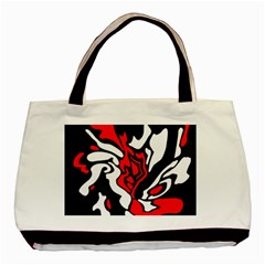 Red, Black And White Decor Basic Tote Bag by Valentinaart
