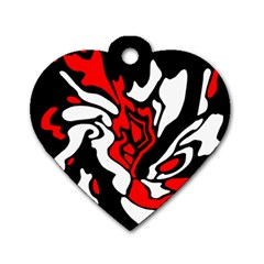 Red, Black And White Decor Dog Tag Heart (one Side) by Valentinaart