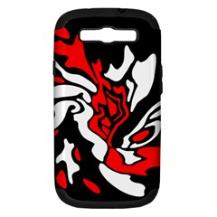 Red, Black And White Decor Samsung Galaxy S Iii Hardshell Case (pc+silicone) by Valentinaart