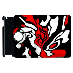 Red, Black And White Decor Apple Ipad 2 Flip 360 Case by Valentinaart
