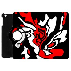 Red, Black And White Decor Apple Ipad Mini Flip 360 Case by Valentinaart