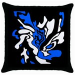 Blue, black and white decor Throw Pillow Case (Black) Front