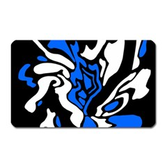 Blue, Black And White Decor Magnet (rectangular) by Valentinaart