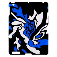 Blue, Black And White Decor Apple Ipad 3/4 Hardshell Case by Valentinaart