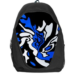 Blue, Black And White Decor Backpack Bag by Valentinaart