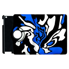 Blue, Black And White Decor Apple Ipad 3/4 Flip 360 Case by Valentinaart
