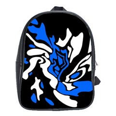 Blue, Black And White Decor School Bags (xl)  by Valentinaart