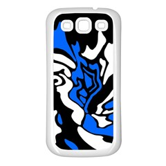 Blue, Black And White Decor Samsung Galaxy S3 Back Case (white) by Valentinaart