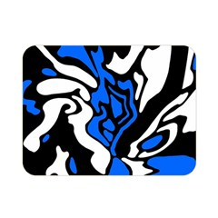Blue, Black And White Decor Double Sided Flano Blanket (mini)  by Valentinaart