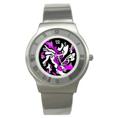 Purple, White And Black Decor Stainless Steel Watch by Valentinaart