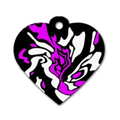 Purple, White And Black Decor Dog Tag Heart (two Sides) by Valentinaart