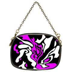 Purple, White And Black Decor Chain Purses (one Side)  by Valentinaart