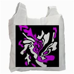 Purple, White And Black Decor Recycle Bag (two Side)  by Valentinaart