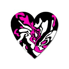 Magenta, Black And White Decor Heart Magnet by Valentinaart