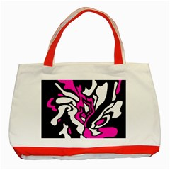 Magenta, Black And White Decor Classic Tote Bag (red) by Valentinaart