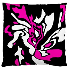Magenta, Black And White Decor Large Cushion Case (two Sides) by Valentinaart