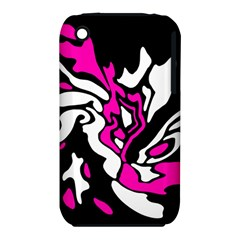 Magenta, Black And White Decor Apple Iphone 3g/3gs Hardshell Case (pc+silicone) by Valentinaart