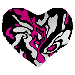 Magenta, Black And White Decor Large 19  Premium Heart Shape Cushions by Valentinaart
