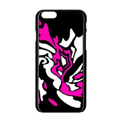 Magenta, Black And White Decor Apple Iphone 6/6s Black Enamel Case by Valentinaart