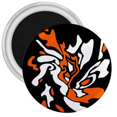 Orange, White And Black Decor 3  Magnets by Valentinaart