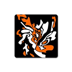 Orange, White And Black Decor Square Magnet by Valentinaart
