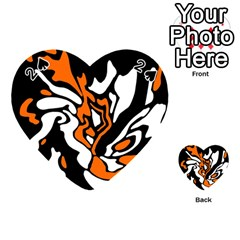 Orange, White And Black Decor Playing Cards 54 (heart)  by Valentinaart