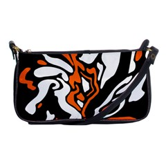 Orange, White And Black Decor Shoulder Clutch Bags by Valentinaart