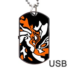 Orange, White And Black Decor Dog Tag Usb Flash (one Side) by Valentinaart