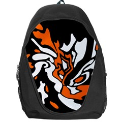 Orange, White And Black Decor Backpack Bag by Valentinaart